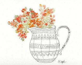 Orange Wildflowers in a Vase, Original Watercolor Painting, 9x12, tribal design, boho, spring, watercolor flowers