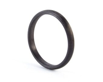 Women's carbon fiber round ring. Unique and industrial black engagement ring. Valentine's Day (00100_2N)