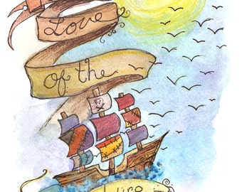 watercolor art print, pirate ship decor, nautical art, for the love of the adventure, whimsy art, watercolor, pirate theme, yellow and blue,