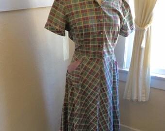 1940's Dress - Vintage 40s Cotton Dress, L - Picnic in the Park Dress