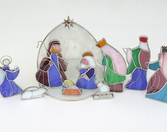 Stained Glass Nativity Set With Joseph, Mary, Baby Jesus, Angel, 3 Kings, 2 Lambs, & Tea Light Stable - Ten Pieces