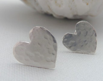 Sterling Silver Heart Stud Earrings - Valentines Day Jewellery Gift, Free UK Postage