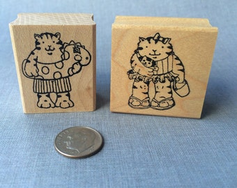 Beach Cat Kids Rubber Stamp set