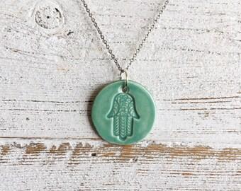 Ceramic Hamsa Pendant, Jade Green, Unique Jewelry, Zen, Peace, Gift Ideas, Boho, Ceramics, Faith, Ceramic Jewelry, Holiday Gift