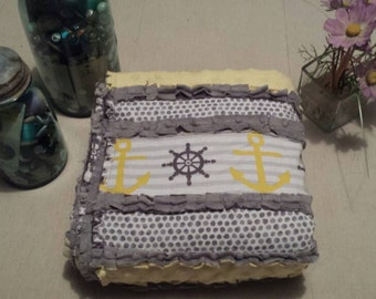 Anchor Rag Baby Quilt Blanket with Minky Backing