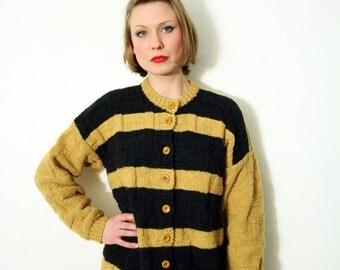 ON SALE Vintage Handmade Chunky Textured Knit Cardigan Sweater