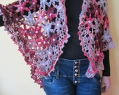 ON SALE - 10% OFF Crochet Flowers Shawl...Mohair Colorful Shawl...Fashion Accessory...Women Gift...
