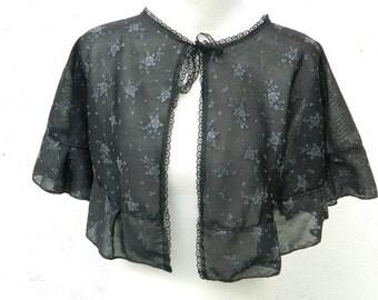 black silver mesh cape gothic pelerine steampunk victorian Shoulder wrap shrug Bolero Burlesque Western Civil War Wedding romantic dark