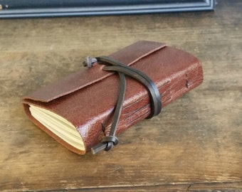 Leather Journal, Pocket-Size, Chestnut Brown Hand-Bound 3.5 x 4 Journal by The Orange Windmill on Etsy 1646