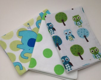 Burp Cloths / Set of 3 Double thickness flannel: Blue Green owls. elephants and polka dots