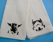 Set of two small super soft flour sack towel with STAR WARS prints Yoda and Storm Trooper print for your kitchen or bathroom.