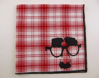 Hankie- In DISGUISE shown on super soft RED plaid cotton hanky-or choose from white or any solid colors or plaids shown in pics