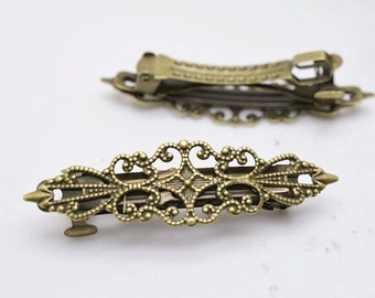 5pcs Antique Bronze Flower Hair Clips 56mm Long Squeeze Open