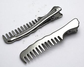5pcs 14x70mm Gunmetal Black Hair Comb Hair Clip Brooch Pin LB509-4