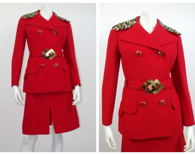 Vintage 1970's Red Wool Skirt Suit with Animal Print Collar // Fire Engine Red Skirt Suit with Fur Trim // 70's Red Wool Gabardine Suit //