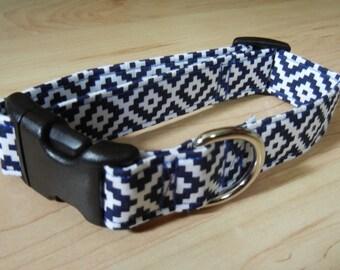 NEW cotton DOG COLLAR crisp Navy and White