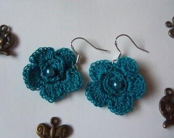 Blue Crochet Flower Earrings. Handmade Flower Earrings.
