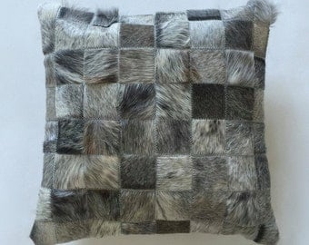 Cowhide Pillow - Grey Gray Patchwork Cushion - 15 x 15 in