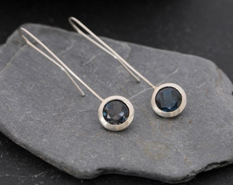 London Blue Topaz Earrings - Blue Topaz Dangle Earrings - Silver Lollipop Earrings -Blue Gemstone Dangle Earrings - FREE SHIPPING