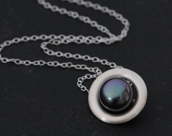 Pearl Pendant Necklace - Black Pearl Silver Necklace - Black Pearl Set in Sterling Silver Halo Pendant  Necklace - Free Shipping