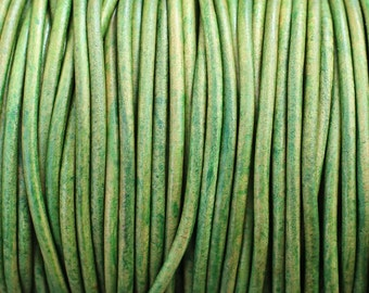 3mm Leather Cord - Green Distressed Leather Cord Round Natural Dye - 2 Yard Increments