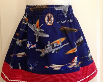 Girls Air Force skirt / Military girls skirt /  Patriotic skirt / Air Force skirt / Military Brat skirt / Air Force  / READY TO SHIP 4T