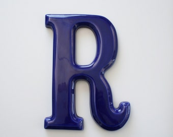 Vintage Ceramic Blue Letter R Wall Hanging - Monogram Initial R Personalized Office Decor - Child's Room Decor