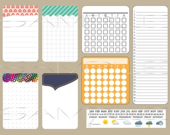 Printable calendars and notes - for planners and journals - digital download - Bullet Journal