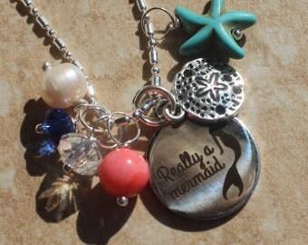 Beach charm Necklace, Mermaid jewelry, Beach jewelry, Nautical Jewelry, starfish, coral, Freshwater pearl, swarovski crystal, sand dollar