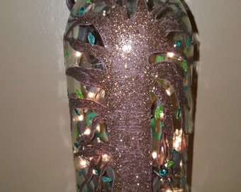 Upcycled Lighted Yoga Om Live Your Truth Wine Bottle