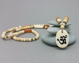 Bone Om / Aum Pendant Bead Necklace - Long Ivory White Om Necklace - Yoga Necklace