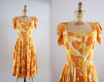 Vintage 1950s Marigold Dress / 50s orange & yellow floral raw silk party dress / Medium M