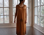 Antique Beaded Silk Edwardian Evening Dress/Vintage 1910s 20/Copper Silk Flapper Drop Waist Tea Length Dress/Downton Abbey Party Dress/Small