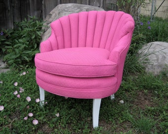 FOR SALE new price channel back vintage hot pink diva chair slipper side chair