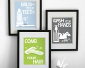 Bathroom Art Prints, Wash Your Hands, Brush Your Teeth, children's bath room wall art -  Pick 3 - Bathroom rules art for the bathroom