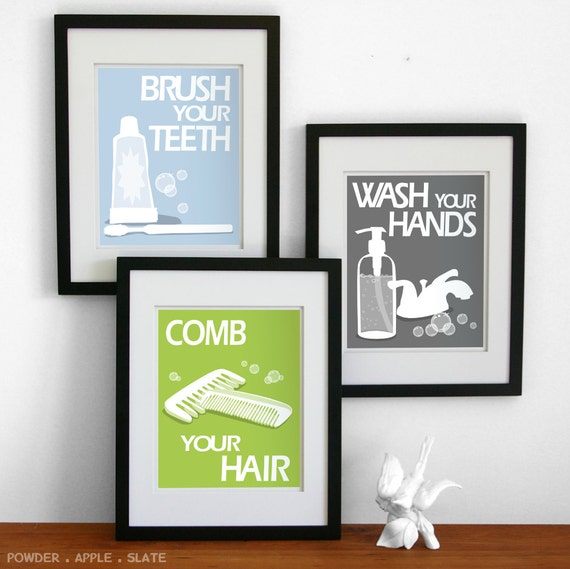 bathroom art prints wash your hands brush your teeth children 39 s