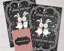 Merry Kiss-Mas and a Chappy New Year Chapstick Labels and Gift Tag Printable Party Favor