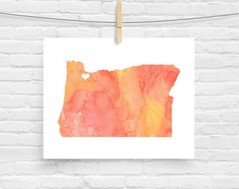 Oregon or ANY STATE Map - Custom Personalized Heart Print - I Love Portland - Hometown Wall Art Gift Souvenir - Watercolor Series