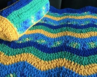 "Chevron Crocheted Blanket Sz 40""x 52""~ Crocheted Afghan with optional Neck Pillow Summer Beach Blanket ~ Picnic Blanket ~ Floor Blanket"