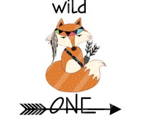 Wild One Tribal Indian Fox Digital Download for iron-ons, heat transfer, Scrapbooking, Cards,  DIY, Personalized YOU PRINT