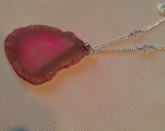 Large Pink Agate Necklace, Agate Slice Pendant Necklace, Pink Pendant Necklace,Statement, Valentine Jewelry, Bold,Pendant Necklace SALE