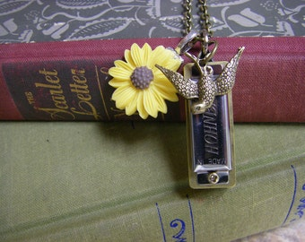 Yellow Daisy Sparrow Little Harmonica Necklace - Really Plays Working Harmonica