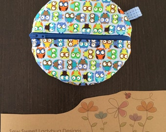 Paci Pod in Timeless Treasures Fabric Tiny Baby Owls and Tiny Dots Boy Paci Pod Ready to Ship