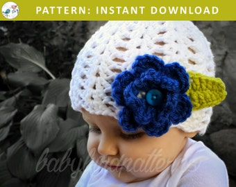 Ring Around the Rosie! Girls' crochet flower hat pattern for babies, toddlers and children - PDF Download Pattern