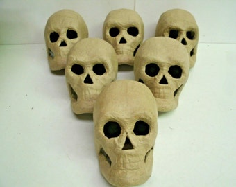 """Lot of 6 Halloween decor - 3D Skull 5.5"""" Ready to Paint - Paper Mache"""
