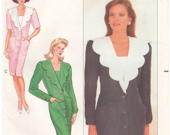 1990 - Butterick 4558 Vintage Sewing Pattern Sizes 6/8/10 Chetta B Easy Dress Loose Tapered Button Down Scallop Collar