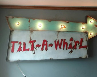 Tilt A Whirl marquee sign - restaurant bar decor - carnival decor - fair Midway sign - circus Marquee - custom signs available Carnival