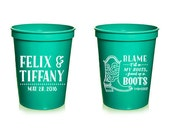 Custom Bachelorette Favor - Blame it All on My Roots, I Showed Up in Boots - 16 oz. Stadium Cups