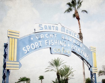 Retro Sign Photography, Santa Monica Pier Picture, Yellow and Blue Art, Vintage California Artwork,  Americana Artwork, Travel Photo