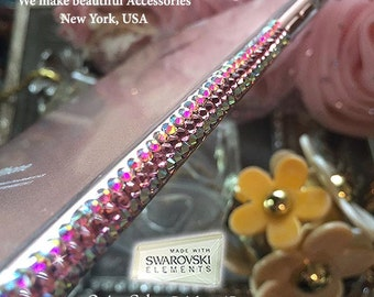Unique Iridescent Sparkle Hard Cover Case Made with 100% SWAROVSKI Elements White Diamond Rose Gold Black Pink AB For  iPhone 7 6s Plus SE